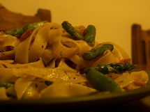 Fettuccine with Asparagus and Ham photo by Jack and Eszter